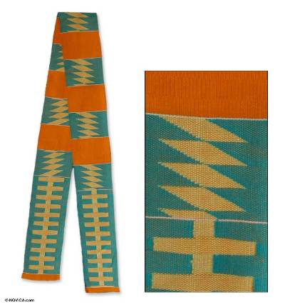 Cotton kente cloth scarf, 'Sky Ladder' - Cotton kente cloth scarf