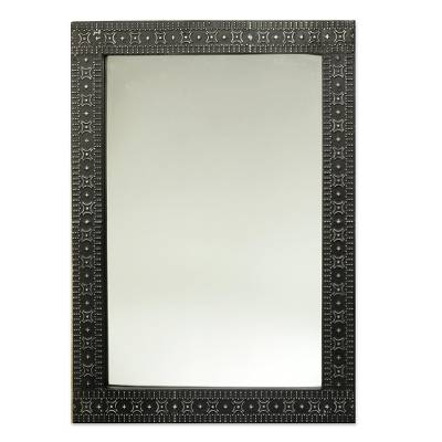Contemporary Wood and Aluminum Mirror