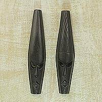Ashanti wood masks, 'Fighting Spirit' (pair) - Ashanti Wood Masks (Pair)