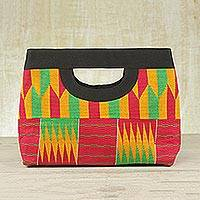 Cotton kente clutch bag, 'Ashanti Colors' - Kente Cloth Cotton Clutch Handbag