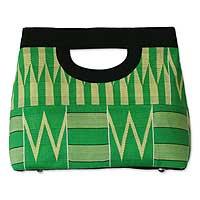 Cotton kente clutch bag, 'Morning Dew' - African Kente Cloth Clutch Bag