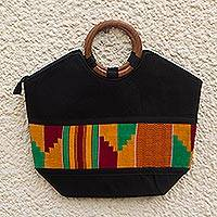 Cotton kente tote handbag, 'Ashanti Treasures' - Cotton kente tote handbag