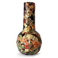 Recycled newspaper vase, 'Stories' - Recycled newspaper vase