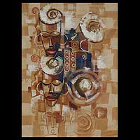 'African Ancestral Mask III' - African Fine Art Painting