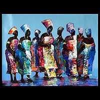 'Agbadza Dancers' - Acrylic Painting from Africa