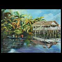 'Stilt Village' - Landscape Realist Painting