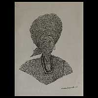 'Iyalode, Leader of Women' - Fine Art Ink Drawing