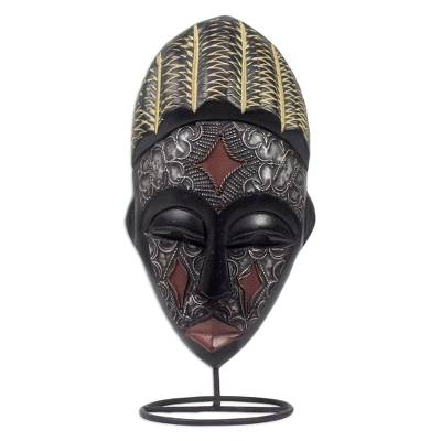 Artisan Crafted Metallic Wood Mask on Stand