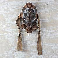 Nigerian wood and jute mask, 'Heart Fortunes' - Fair Trade Nigerian Wood Mask