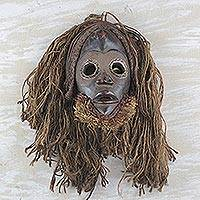 Ghanaian wood mask, Strong Protector - Handcrafted Jute Mask from Africa