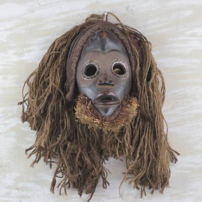 African wood mask, 'Strong Protector' - Handcrafted African Wood and Jute Mask from Ghana