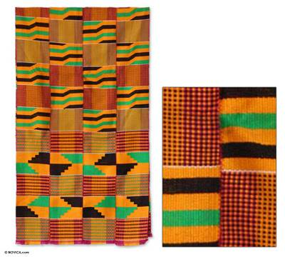 Cotton kente cloth, 'Waves' - Cotton Kente Cloth