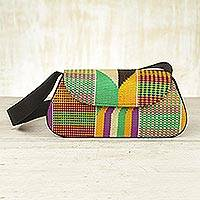 Cotton kente shoulder bag, 'Ghana Muse' - Kente Cloth Flap Handbag from Africa
