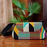 Cotton kente shoulder bag, 'Ashanti Fantasy' - Handcrafted Kente Cotton and Polyester Shoulder Bag