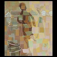 'Come Back Mama II' - African Cubist Painting