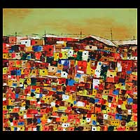 'Amazing Houses' (2009) - Expressionist Painting from Africa