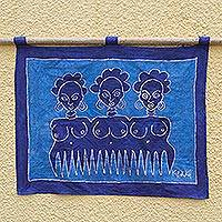 Batik wall hanging, 'Beauty Comb I' - Batik wall hanging