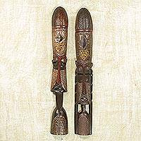 Wood tall sculptures, 'Fulani Leaders' (pair) - Wood tall sculptures (Pair)