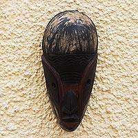 Ghanaian wood mask, 'Okomfo Warning' - Artisan Crafted Wood Mask