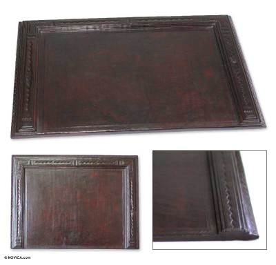 Leather desk pad, 'African Legacy' - Leather Desk Pad