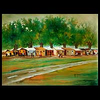 'Panorama II' - African Landscape Painting of a Small Town in Ghana