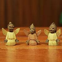 Wood ornaments, Sweet Angels (set of 6)