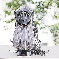 Liberian wood and jute mask, 'Monkey Antics' - Handmade Liberian Wood Mask from Africa