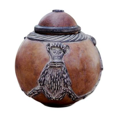 Calabash decorative box, 'Monkey Wisdoms' - Calabash decorative box