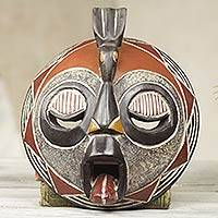 Malian wood mask, 'Hoot at Hunger' - Handmade Malian Wood Mask