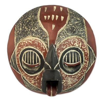 Fair Trade Black and Red African Hand Carved Wooden Mask