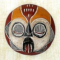 Ghanaian wood mask, 'Woman of Fire' - Fair Trade African Wood Mask