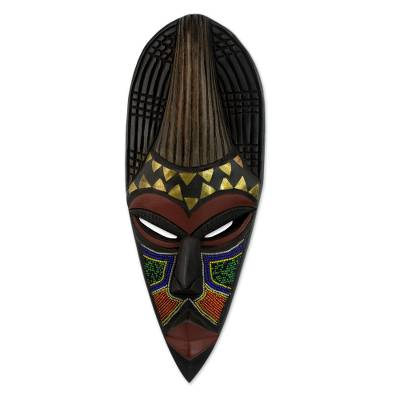 Hand Beaded Wood Mask from Africa