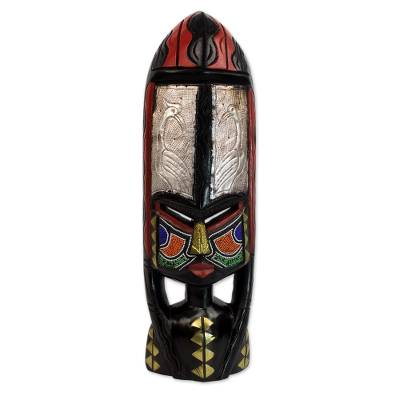 Fair Trade African Beaded Wood Mask with Brass and Aluminum Accents