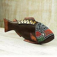 Wood sculpture Rainbow Fish Ghana