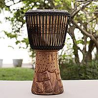 Wood djembe drum, 'King of the Forest' - Handcrafted Wood Djembe Drum