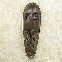 Ivoirian wood mask, 'Baule Spitfire' - Ivoirian wood mask