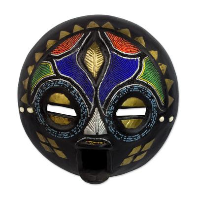 Hand Beaded Wood Mask