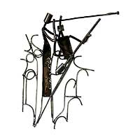 Recycled iron wall sculpture, 'Music Duet' - Recycled iron wall sculpture