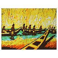 Batik art, 'The Inspection' - Unique Batik Cotton Wall Art
