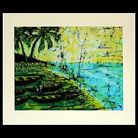 Batik art, 'Sunday Morning' - Fair Trade Batik Cotton Wall Art