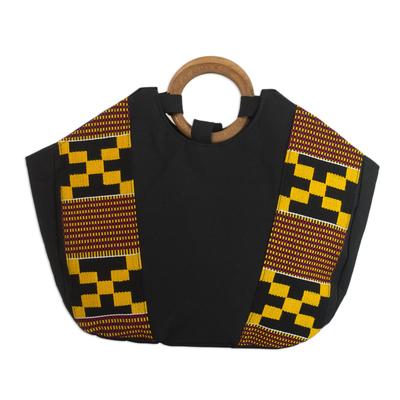Hand Crafted Kente Cloth and Cotton Handle Handbag