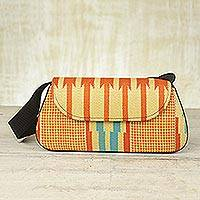 Cotton kente shoulder bag, 'Glamorous Orange' - Kente Cloth and Cotton Shoulder Bag