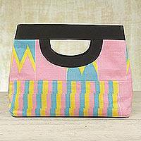 Cotton kente tote handbag, 'Pink Is Sweet' - Cotton kente tote handbag
