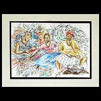 'Women At Work' - Expressionist Watercolor Painting