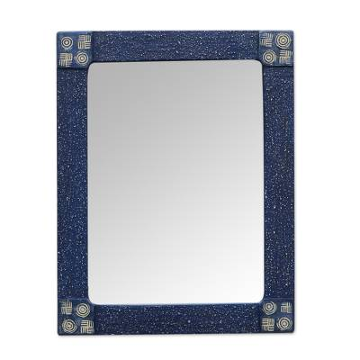 Hand Made African Style Rectangular Wood Mirror