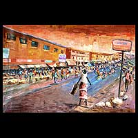 'Central Market' - Landscape Expressionist Painting