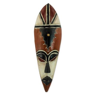 Handcrafted Red and White Wooden African Mask from Novica