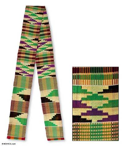 Cotton blend kente scarf scarf, 'Unity is Strength' (4 inch width) - Cotton Blend Kente Scarf 4 inch