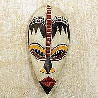 Nigerian wood mask, 'Protect My Baby' - Nigerian Wood Wall Mask