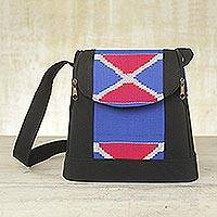Cotton kente shoulder bag, 'Perfect Day' - Cotton kente shoulder bag